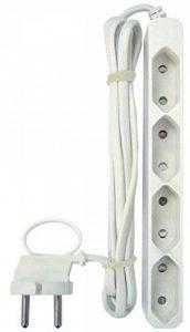 GAO eurosteckd Osen Multiprise 4Prises Câble de 3m, extraflache Forme avec Languette de Repassage, Blanc Flexible, eu43m de la marque GAO image 0 produit