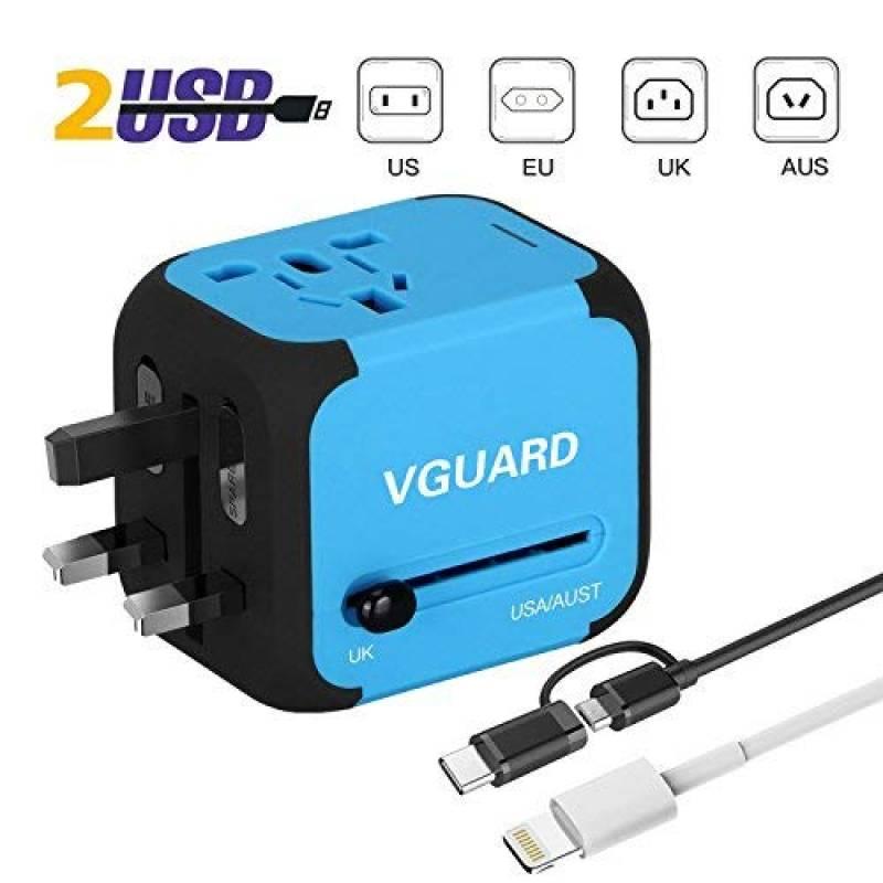 Adaptateur de Voyage Universel EXTSUD Chargeur de Voyage avec 3 Ports USB et Le Type C Prise Internationale avec Un Fusible de Rechange pour US AU Plus de 170 Pays UK EU
