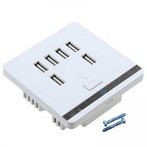 Gazechimp Prise Murale USB 6 Ports Hub Chargeur USB LED Plaque Murale Electrique avec Commutateur Blanc de la marque Gazechimp image 0 produit