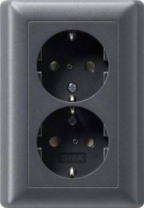 Gira 078328 Prise de courant double de type Schuko avec cadre plein Anthracite de la marque Marque : Gira image 0 produit