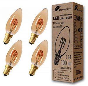 greenandco® Ampoule à Filament LED Vintage E14 2W (équivalent 11W) 100lm 2000K (blanc chaud) 360° 230V Verre, non-gradable de la marque greenandco image 0 produit