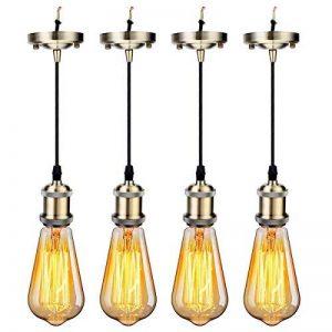 GreenSun LED Lighting Eclairage Bronze #A 4 Set (douille de lampe + rétro lampe E27 40W) Rétro Edison E27 Alu Douille avec 1,2 M Câble Plafond Support de Base de Lampe pour Lampe Suspendue de la marque GreenSun LED Lighting image 0 produit