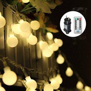 Guirlande lumineuse,13M 100 ampoules,Tomshine guirlande exterieur, 8 Modes avec télécommande, étanche IP44, Luminosité réglable, 3.6 W LED à Piles Petites Boules, Alimenté par batterie(Blanc Chaud) [Classe énergétique A+] de la marque Tomshine image 0 produit