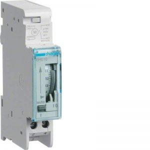 Hager EH010 Interrupteur horaire électromécanique, cycle de programmation quotidien, 16A, un inverseur, sans réserve de marche de la marque Hager image 0 produit