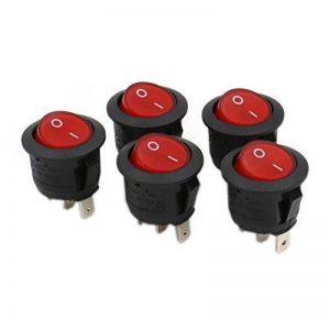 Heschen ronde Interrupteur à bascule ON/OFF Spst 3bornes lumière rouge 10A 250VAC Lot de 5 de la marque Heschen image 0 produit
