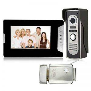 HFeng 7 '' TFT LCD Couleur Vidéo Porte Téléphone Sonnette Interphone Système Kit pour la Maison avec Serrure Électrique + 700TVL IR Vision Nocturne Étanche Caméra Noir Moniteur Filaire de la marque HFeng image 0 produit