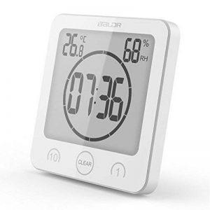 Hinmay Horloge Numérique Minuteur avec alarme, étanche pour l'eau Spray pour salle de bain douche de cuisine, écran tactile Minuteur, température, humidité, écran Ventouse Support de trou de suspension, blanc, Taille unique de la marque Hinmay image 0 produit
