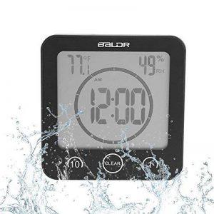 Horloge de salle de bain Horloge étanche Douche Écran LCD numérique Thermomètre Hygromètre Minuterie Horloge murale multifonction pour Cuisine Salle de bain(Black) de la marque Yosoo image 0 produit