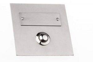 HUBER 12542 bouton de sonnette en acier inoxydable, 1 poche sous le plâtre, carré, avec étiquette pour le nom de la marque Huber image 0 produit