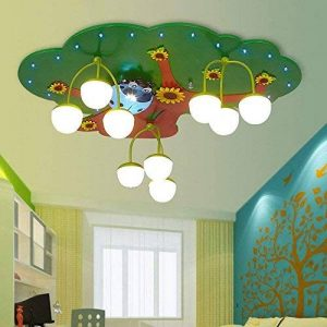 HYW Plafond-Sagesse créative de l'arbre Les garçons et Les Filles Dessin animé Enfants 's Chambre LED plafonnier en Bois Chambre Maternelle plafonnier (Couleur de lumière en Option),Section de la marque HYW image 0 produit