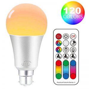 iLC Ampoule Led baillonette RGBChangement deCouleur,b22 Ampoules Led RGBWDimmable Blancchaud(2700K) 10W - Equivalenceincandescence 60W, Lampe LedAngle de Faisceau 270°,900Lumen,85CRISuper high Display,Baïonnette Douille,LumiereledLumière d'hu image 0 produit