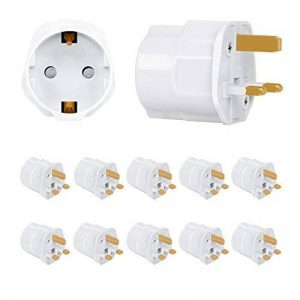 Incutex 10x adaptateurs de voyage UK, GB, Angleterre Schuko, 2 broches Europe vers 3 broches RU, blanc de la marque Incutex image 0 produit