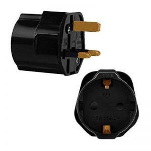 Incutex 1x adaptateur de voyage UK, GB, Angleterre Schuko, 2 broches Europe vers 3 broches RU, noir de la marque Incutex image 0 produit