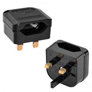 Incutex 2x adaptateurs de voyage pour UK GB Angleterre connecteur européen vers prise UK 3 broches, noir de la marque Incutex image 0 produit