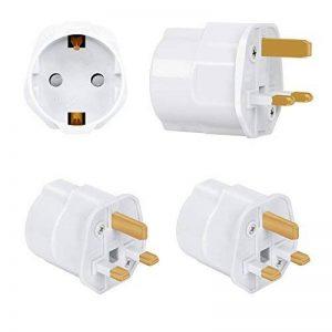 Incutex 2x adaptateurs de voyage UK, GB, Angleterre Schuko, 2 broches Europe vers 3 broches RU, blanc de la marque Incutex image 0 produit