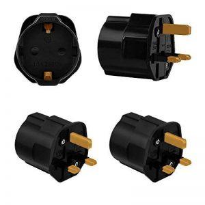 Incutex 2x adaptateurs de voyage UK, GB, Angleterre Schuko, 2 broches Europe vers 3 broches RU, noir de la marque Incutex image 0 produit