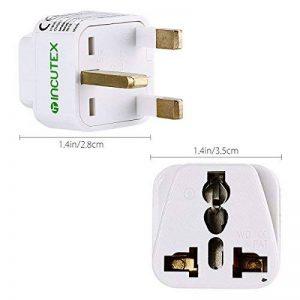Incutex 2x adaptateurs universels de voyage, connecteur international vers 3 broches UK, blanc de la marque Incutex image 0 produit