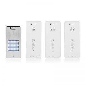 Interphone Smartwares DIC-21132 – Audio 2 voies – Installation bifilaire facile – 52 mélodies – Bouton de sonnette lumineux – Unité extérieure étanche – Kit pour 3 appartements de la marque Smartwares image 0 produit