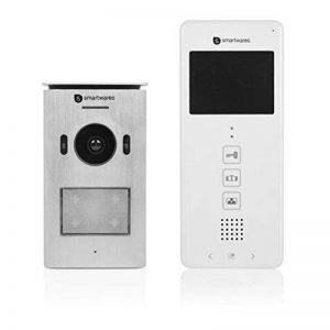 """Interphone vidéo Smartwares DIC-22112 – 480p – Écran LCD de 3,5"""" (8,9 cm) – Caméra panoramique / inclinaison à 15° – Facile à installer – Étanche – 12 mélodies – Vision nocturne de la marque Smartwares image 0 produit"""
