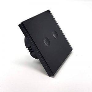 Interrupteur tactile 2 boutons Lumtouch - Design moderne, épuré et élégant - Modèle en verre noir - Garantie 5 ans de la marque Lumtouch image 0 produit