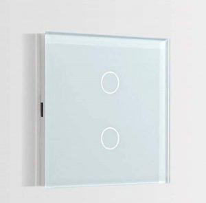 Interrupteur Tactile Mural 2 touches LED compatible Verre Blanc 86mm de la marque Bseed image 0 produit