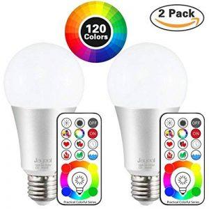 Jayool 10W E27 120 Couleurs LED RGBW Ampoule Changement de Couleur Télécommande (3ème génération), Timing et Dimmable RGB+lumière du jour Blanc(6500K) Edison Screw (Lot de 2) de la marque Jayool image 0 produit