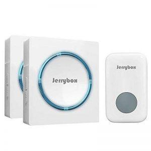 Jerrybox Sonnette de Porte Electronique sans Fil, 2 Récepteurs, Carillon Electrique de 300m à LED Bleu, Etanche (Double, Blanc) de la marque Jerrybox image 0 produit