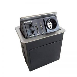 KIMEX 135-1008 Boîtier de table encastrable 2xRJ45, USB 2.0, HDMI, Prise 220V, Gris de la marque KIMEX image 0 produit