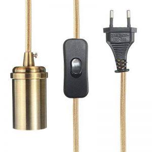 KINGSO E27 Edison Lustre Suspension Rétro avec Interrupteur 110-250V Adaptateur De Douille Cuivre avec 4.5m Fil à Prise Européenne Patine Or de la marque KINGSO image 0 produit