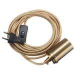 KINGSO E27 Edison Lustre Suspension Rétro avec Interrupteur 110-250V Adaptateur De Douille Cuivre avec 4.5m Fil à Prise Européenne Patine Or de la marque KINGSO image 4 produit