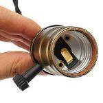 KINGSO E27 Trois Douilles Edison Set Pententif Lustre Suspensions avec Interrupteur d'écairage Dimmable Vintage Antique Rétro Adaptateur de Lampe 110-220V avec Câble à Prise Européenne Laiton Antique de la marque KINGSO image 4 produit