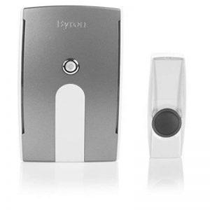 Kit de sonnette sans fil Byron BY504E – Alimenté sur piles – Portée de 125 m– Couvercle amovible – Voyant LED de la marque Byron image 0 produit