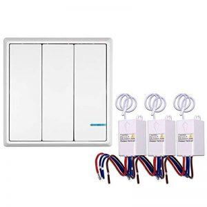 KKmoon 3 Pcs AC 180~275V émetteur Sans Fil de Commutateur Récepteur Contrôleur Pas de Câblage Télécommande étanche Maison d' éclairage et Appareils de la marque KKmoon image 0 produit