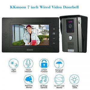 KKmoon Sonnette Vidéo Intelligente de 7 Pouces Vision Nocturne Infrarouge Etanche avec 1 Caméra Exitérieur + 1 Moniteur Intérieur de la marque OWSOO image 0 produit