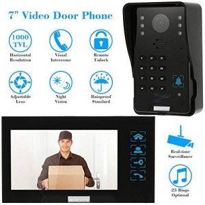 KKmoon Vidéo Phone Intercom Sonnette Visuel de Porte avec 1pc 1000TVL CCTV Caméra Extérieure de Sécurité + 1pc 7 Inch Moniteur Intérieur pour Maison Surveillance TP02S-11 de la marque KKmoon image 0 produit