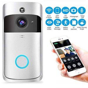 Kobwa WiFi Smart Sonnette, Carillon vidéo sans Fil HD 720p WiFi Camera vidéo en Temps réel Audio Bidirectionnel Vision Nocturne Détection de Mouvement Voleur Rappel iOS, Android, Windows (Argent) de la marque KOBWA image 0 produit
