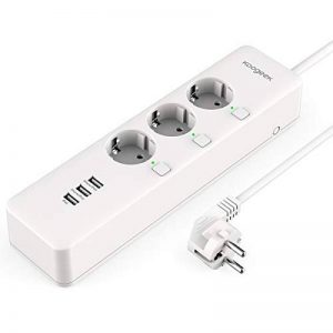 Koogeek Prise WiFi Multiprise intelligent Electrique 3 prises AC intelligentes 3 USB ports Cordon 1.5 M 2.4HZ 3000W Télécommande voice control compatible alexa homekit google assitant pour iOS et Android de la marque Koogeek image 0 produit