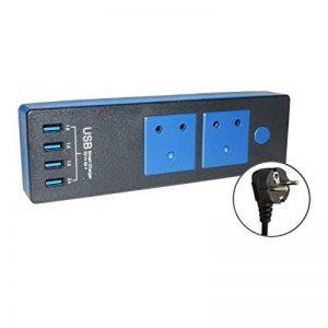 Kosee Station de Charge de Quatre Ports USB Intelligente avec deux Connecteurs CA Prise de Raccord en Charge Rapide 2.0 avec Rallonge Compatible avec les Normes de l'UE - Noire de la marque Kosee image 0 produit