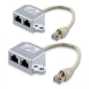 kwmobile 2X Dédoubleur câble réseau - Répartiteur Cat. 5e RJ45 fiche Alimentation Ethernet - Distributeur T vers 1x RJ45 réseau LAN et 1x ISDN de la marque kwmobile image 0 produit