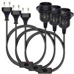 kwmobile 3x luminaire suspendu - douille avec circuit boîtier noir avec câble 3,5m vis bague filetée - lampe à suspension E27 de la marque kwmobile image 4 produit