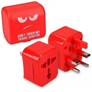kwmobile Adaptateur Universel 150 Pays - Chargeur Compact - Prise Universelle pour UE UK AUS et US - Prise électrique Secteur Don't Touch Rouge de la marque kwmobile image 0 produit
