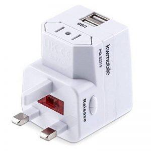 kwmobile Adaptateur Universel de Voyage - Prise Secteur avec 2 Ports USB 1A - Adaptateur 150 Pays Prise Anglaise américaine et Autres - Blanc de la marque kwmobile image 0 produit