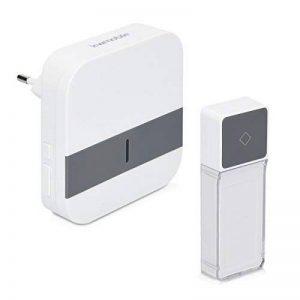 kwmobile Carillon sonnette sans fil - 1x émetteur 1x récepteur - Set de sonnettes portée acoustique 300 m - 52 mélodies - En blanc et gris de la marque kwmobile image 0 produit
