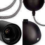 kwmobile Douille de lampe E27 - Suspension luminaire plafond en métal, fil textile noir & blanc 90 cm et socle lampe - Support de lampe plafonnier E27 de la marque kwmobile image 2 produit
