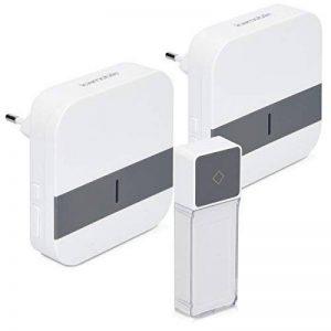kwmobile Sonnette porte sans fil - Sonnette étanche maison jardin ou magasin 1x émetteur 2x récepteurs portée 300 m - 52 Sonneries - blanc gris de la marque kwmobile image 0 produit