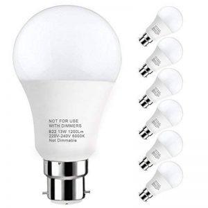 LAKES Ampoule LED Globe A60 Culot B22, 100W Équivalent Ampoule sphérique, 6000K Blanc froidK, Lot de 6 de la marque LAKES image 0 produit