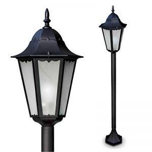 Lampadaire extérieur HONGKONG FROST en fonte d'aluminium de couleur noir et verre opale - Petit réverbère IP44 - Lampe de sentier - jardin - cour - terrasse de la marque HOFSTEIN image 0 produit