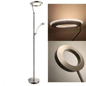 Lampadaire LED avec anneau lumineux en acrylique pour le bureau – chambre à coucher – salon – 2 variateur tactile pour interrupteur séparé de plafonnier et liseuse réglable de la marque gcs image 0 produit