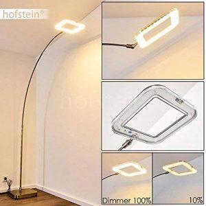 Lampadaire LED en métal de couleur nickel mat - Luminaire sur pied pour salon, séjour, chambre à coucher - Lampe intensité variable - hauteur réglable de la marque Hofstein image 0 produit