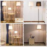 Lampadaires Nordic Iron - moderne minimaliste LED solide bois noir/blanc plateau de rangement en tissu Vertical lampadaire American Village salon étude chambre lampadaire, interrupteur à tirette de la marque ZZW image 3 produit
